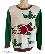 Ugly Christmas Knit Stretch Sweater Drunk Santa Holiday Medium Green Red White  - $27.71