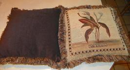 Pair of Brown Beige Lily Print Throw Pillows / Decorative Pillows  17 x 17 - $69.95