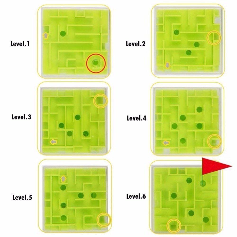 8*8cm 3D Magic Cube Maze Labyrinth Rolling Ball Educational Toys Puzzle Plastic