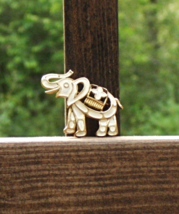 Jonette Elephant Brooch, White Enamel, Cut-out Design, Signed JJ - $10.00