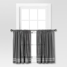 """Two Cafe Curtain Panels Gray & Light Gray Stripe 42"""" X 36"""" Light Filtering - $10.00"""