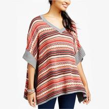 New S FRESHMAN Boho Poncho Sweater Cozy Soft Intarsia Knit V-Neck Grey Womens - $8.99
