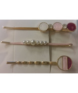 Set of Three HAIR CLIPS Metal Hairclips Hairpins PINK Round Shape>5.5 cm... - $8.88
