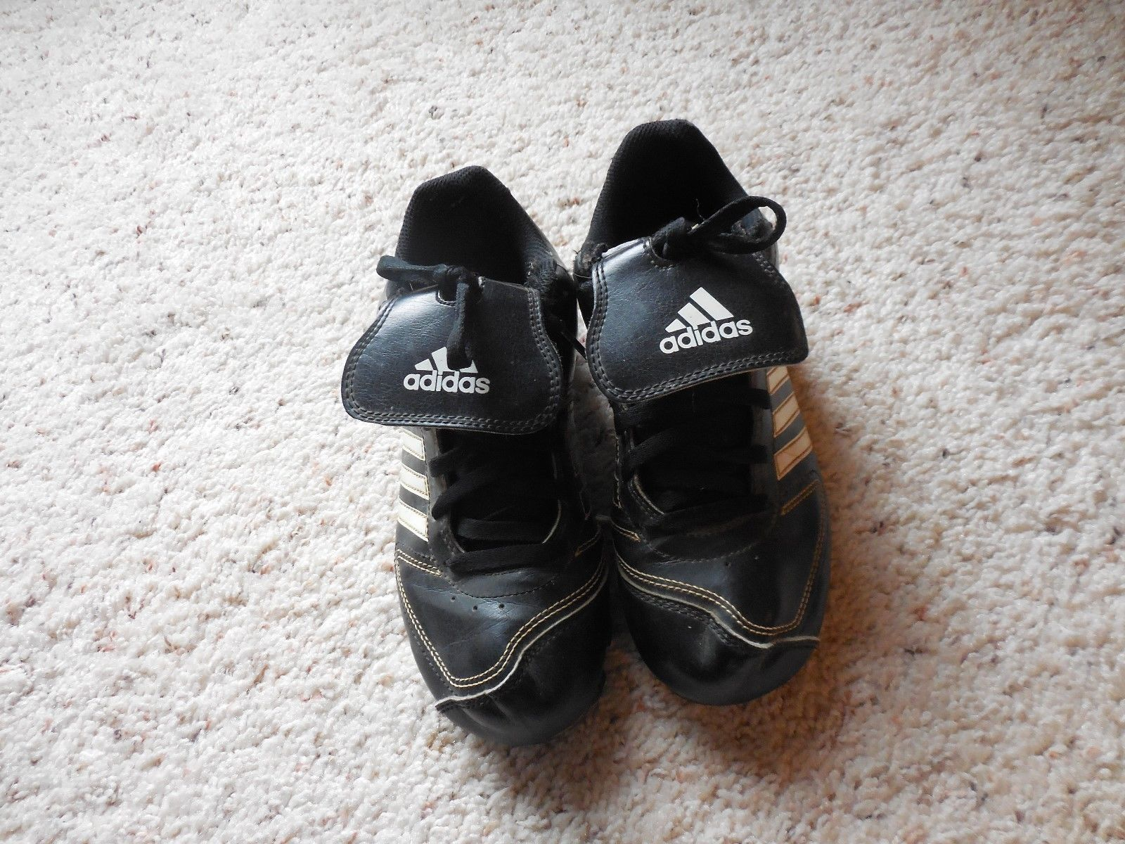 45905432b6f Adidas cleats size 2 youth Black with white and 50 similar items