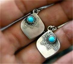Vintage 925 Silver Dangle Earrings Turquoise Leaf Ear Hook Women Wedding... - $1.00