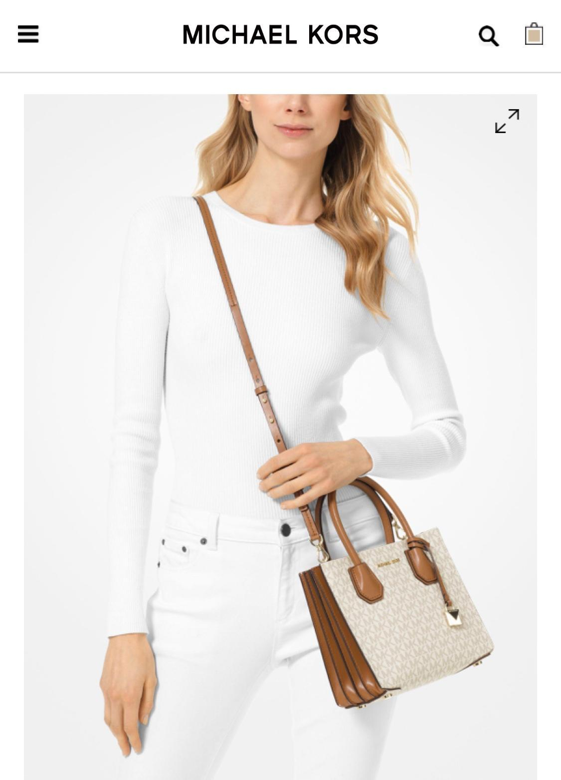 MICHAEL KORS Mercer Medium Logo Accordion Crossbody Bag White