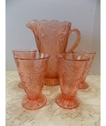 Tiara Indiana Glass Coral Sweet Pear Avocado Pitcher & Tumblers Beverage... - $127.71
