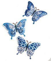 """Blue Metal Butterfly Design Wall Plaques w Wing Cutouts Set of 3 - 10.6"""" Wide"""