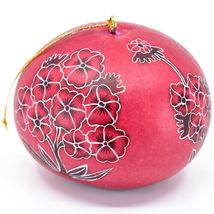 Handcrafted Carved Gourd Art Red Primose Flower Floral Ornament Made in Peru image 3