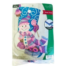 "Bucilla Felt Stocking Applique Kit 18"" Sweet Treats Pink Blue Purple Snowman - $22.99"