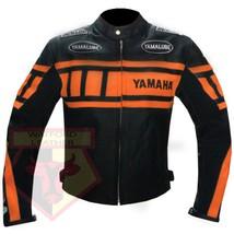 YAMAHA 0120 ORANGE MOTORCYCLE MOTORBIKE ARMOURED COWHIDE LEATHER JACKET - $194.99