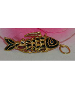 Vintage Cloisonne Enamel Articulated Fish Pendant Black and Gold Tone Ko... - $23.99