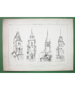 CHURCH Bell Towers Churches at Lausanne Fribourg - Antique Print - $10.09