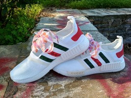 adidas nmd custom shoes gucci style mens white color athletic run sneakers - $109.00