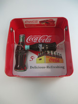 Coca-Cola Tin Napkin Holder Red With Bottle Delicious and Refreshing Logo - $9.41