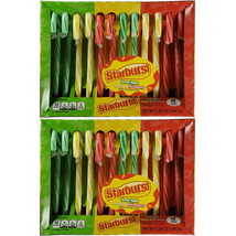 2 Pack Lot - Starburst - Green Apple, Lemon and Strawberry Candy Canes 24 Total