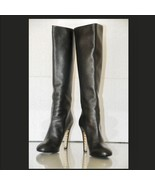 New CHANEL BLACK LEATHER KNEE HIGH ROUND TOE PE... - $1,107.99