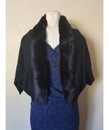 NWT Hayden Black Rabbit Fur Trimmed Cashmere Rib Knit Bolero $525 - $108.89+
