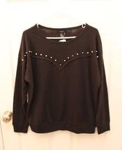 Forever 21 Size Medium M Metal Studded Knit Top Thin Sweatshirt Black L/S NWT - $17.79