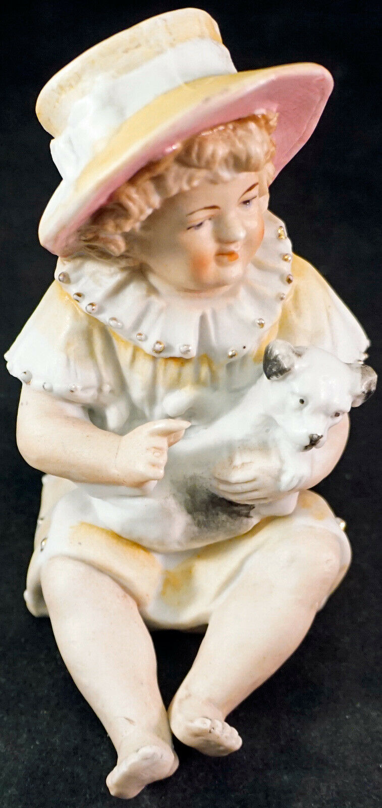 Antique Piano Baby Gebruder Heubach Little Girl in Hat with Dog BISQUE FIGURINE - $99.00