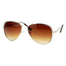 Womens Aviator Sunglasses Rhinestone Design Metal Frame Aviators - $9.95