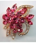 EISENBERG ICE Huge Pink Marquise Rhinestone Pin Brooch   - $74.20