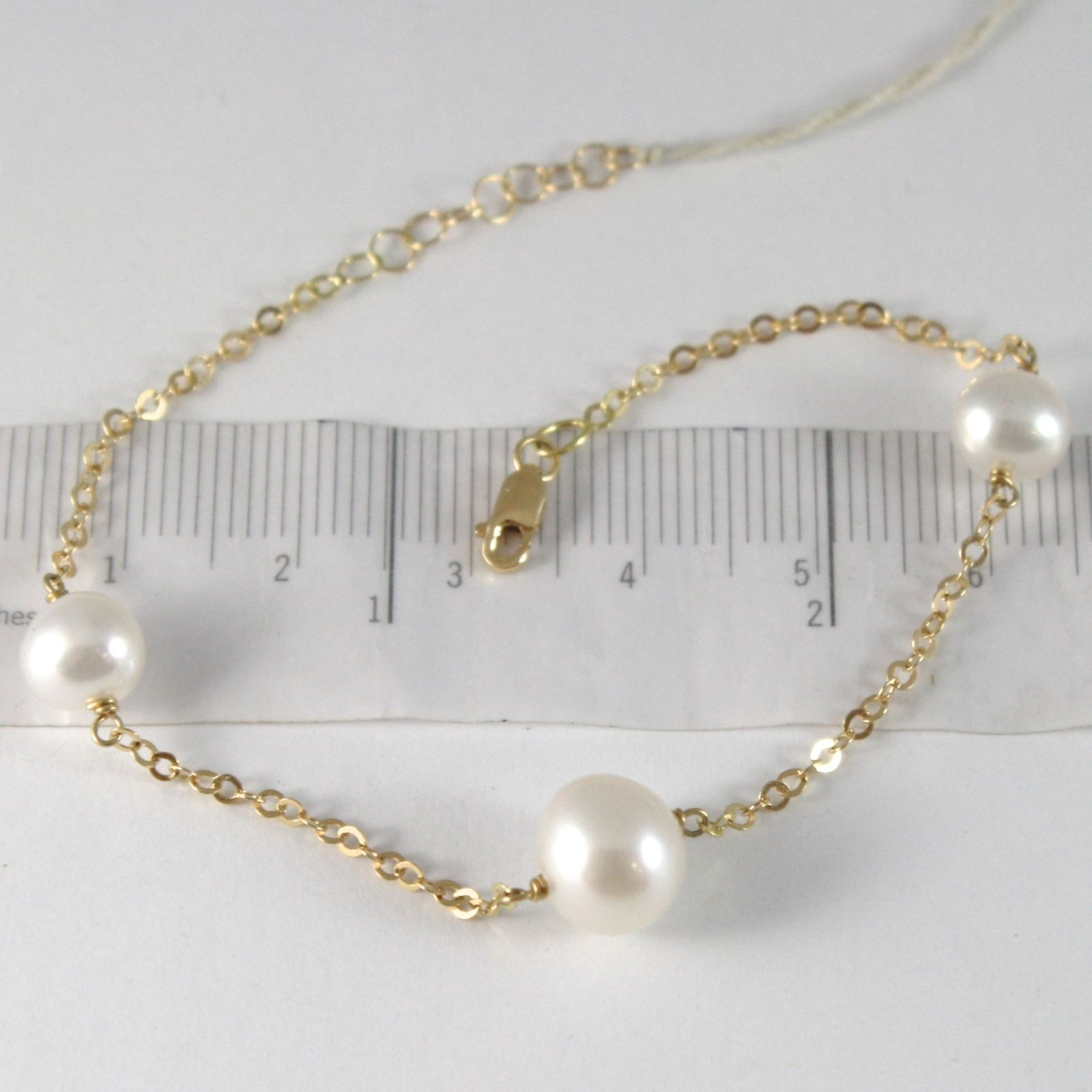 BRACELET YELLOW GOLD 750 18K, WHITE PEARLS 7-9 MM , CHAIN ROLO', 18.5 CM