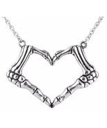 Controse iHeart U 2 Death Punk Love Heart Skeleton Hands Pendant Necklac... - $24.00