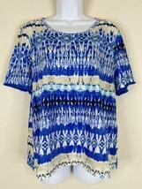 Chico's Womens Size 2 Blue Geometric Striped T-Shirt Short Fringe Sleeve... - $21.60