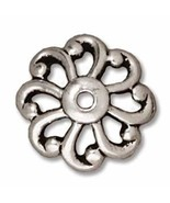 Antique Silver Plated Lead-Free Pewter 4mm Open Scalloped Bead Cap (4) - $7.53