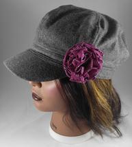 Women's Newsboy Cap Hat Grey Wool Blend w Rose/Mauve Fabric Flower Pin - ₨1,742.13 INR