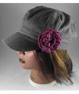 Women's Newsboy Cap Hat Grey Wool Blend w Rose/Mauve Fabric Flower Pin - $24.95