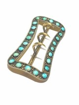 LARGE RaRe Victorian Natural UNtreated turquoise Sterling Gold wash buckle - $410.40