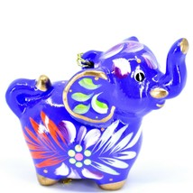 Handcrafted Painted Ceramic Blue Elephant Confetti Ornament Made in Peru