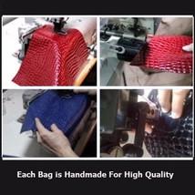 European Fashion Crocodile Style Genuine Leather Shoulder Braided Handle Handbag image 5