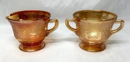 Federal Gass NORMANDIE Bouquet and Lattice Iridescent Footed Sugar and Creamer - $11.29