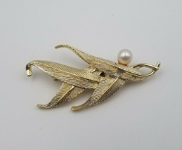"""Vintage Gold Tone Leaf or Feather Pin Brooch with Faux Pearl 2 5/8"""" Long... - $12.86"""