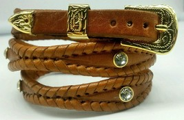 NEW TAN HATBAND Scalloped Braided Leather w CLEAR CRYSTALS & Buckle Set Hat Band - $24.13