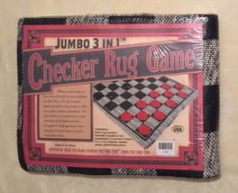 Checker Rug Game Jumbo 3 In 1 With Reverse Rug for Super Tic Tac Toe New... - $9.30