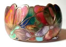 VINTAGE DAVID KUO CHAMPLEVE ENAMEL BUTTERFLY FLOWERS LARGE WIDE CUFF BRA... - $115.00