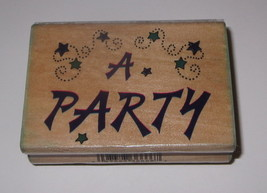 """A Party Rubber Stamp Stamps Wood Mounted 2.75"""" Long - $3.95"""