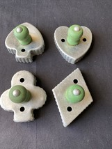 Vintage Metal Cookie Cutters Green Wooden Handles lot Club Spade Diamond... - $9.28