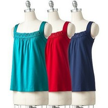 Croft & Barrow Misses Red Chili Pepper Embellished Knit Sleeveless Tank ... - $14.99