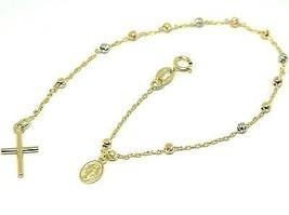 Armband Gelbgold Weiß Pink 750 18K, Rosenkranz, Überqueren, Medaille Mir... - $210.40