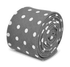 Frederick Thomas mens grey polka spot mens cotton tie FT3348