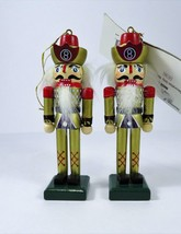 """Pair Wooden Toy Soldier Christmas Ornaments 5"""" Tall 8 Ball Shield On Helmet - $12.86"""