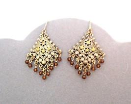 Dangle Pierced Earrings Filigree Setting Topaz Color Stones - $71.24