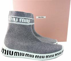 Miu By Prada Logo Grau Silber Glitter Socke ohne Bügel Sneaker Stiefel 34 - $390.02