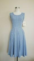 NWT LuLaRoe Nicki tank Dress Pockets Blue White Houndstooth   - $27.99