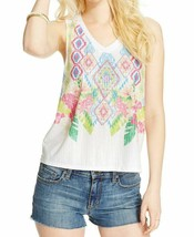 NWT Almost Famous White Pink Blue Print Sequin Tank Top Sleeveless Tee T... - $11.87